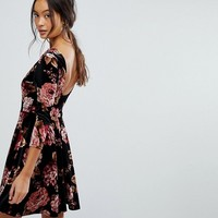 New Look Floral Velvet Scoop Back Skater Dress at asos.com