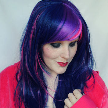 SALE Twilight sparkle wig, cosplay wig, pony wig, scene wig, purple wig // Scene Hipster Emo Punk Rock Hair wig // Sparkle and Shine