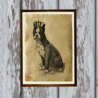 Boston Terrier dog print Old paper Antiqued decoration vintage looking 8.3 x 11.7 inches