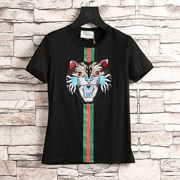 GUCCI Fashion Angry Cat Short Sleeve Shirt Top Tee