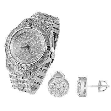Fully Iced out Designer White Gold Finish Men's Techno Pave Watch  & Cluster Earrings Combo Set