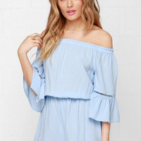 Songbird Light Blue Off-the-Shoulder Romper