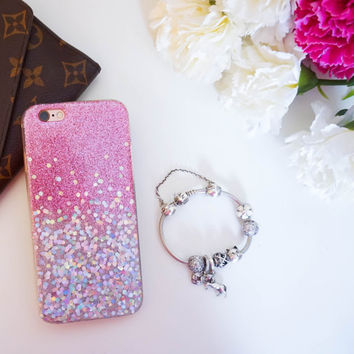 Pink Silver Hologram Ombre glitter iphone 7 case iphone 7plus case iphone 6 plus  iphone 6 case iphone 6s case iphone 5 case iphone SE case