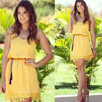 Yellow Lace Trim Strap Mini Dress