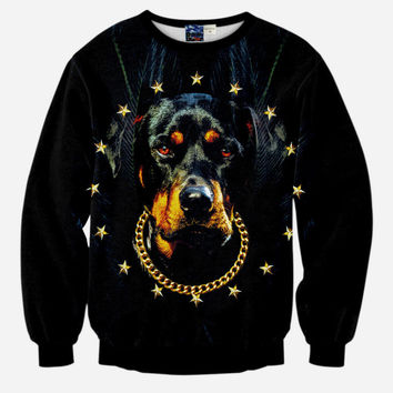 Snoop Dogg All Over Print Super Star Dog with Gold Chain Black Crew Neck Sweatshirt