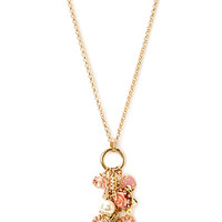 FOREVER 21 Girly Girl Charm Necklace Gold/Pink One