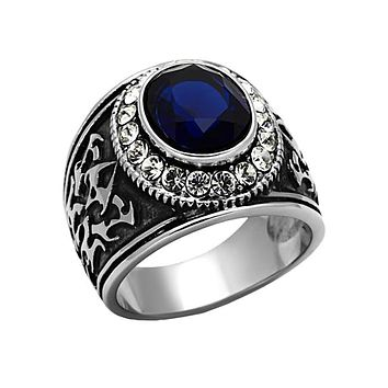 Blue Stone Warrior - Men's Stainless Steel Statement Ring With Synthetic Montana Blue Stone And Clear CZs