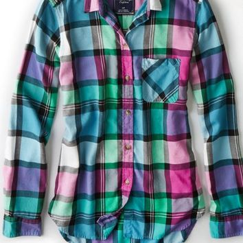 AEO 's Plaid Boyfriend Shirt (Multi)