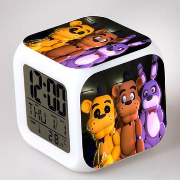In Stock  At  LED Alarm Clock  Bonnie Foxy Freddy Fazbear Bear Clock Night Light Clocks Watch Plastic Toy