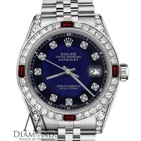 Blue Vignette Rolex 36mm Datejus Red Ruby & Diamonds Accent Jubilee SS Watch