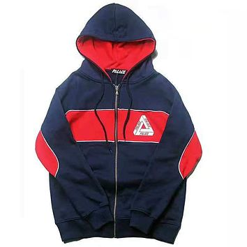 Palace Autumn And Winter New Fashion Bust And Back Letter Print Contrast Color Hooded Long Sleeve Coat
