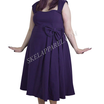 Rockabilly Pinup Vintage Style 60's Purple Belted Flare Party Dress with Bow