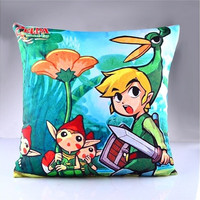 The Legend of Zelda Pattern Two-sided Zippered Pillowcase Home Decoration 40*40cm (Size: 36cm*38cm*1cm, Color: Multicolored)