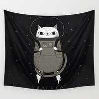 space cat Wall Tapestry by Louis Roskosch