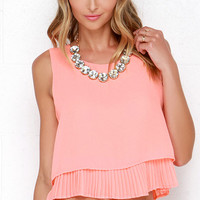Lost in the Lights Bright Coral Top