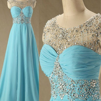 Cap Sleeve A-Line Blue Prom Dresses