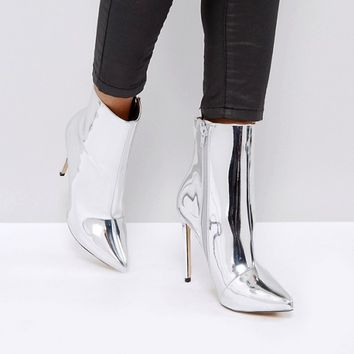 ALDO Loreno Metallic Point Ankle Boots at asos.com
