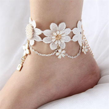 Bohemian Anklet Crochet Barefoot Sandals Brides Shoes Cheville Beach Pool Sandals