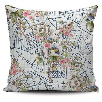 Floral Math Symbols Pillow Cover