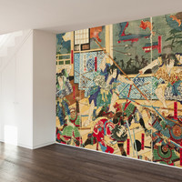 Vintage Japanese Battle Wall Mural Decal