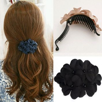 1Pc New Women Korean Style Grils Flower Hair Pins Elegant Wedding Hairpin Clip Gift 4 Colors Party Hair Accessories