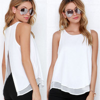 White Back Slit Chiffon Sleeveless T-Shirt