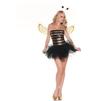 Mystery House Womens Sequins Bee Halloween Party Complete Costume