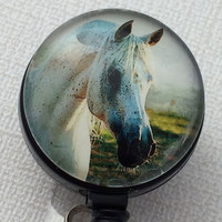 Magnetic Retractable ID Badge White Horse Black Markings with Black Badge Reel