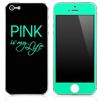 Trendy Green and Black - Pink is my Life - V2 Skin for the iPhone 3gs, 4/4s, 5, 5s or 5c
