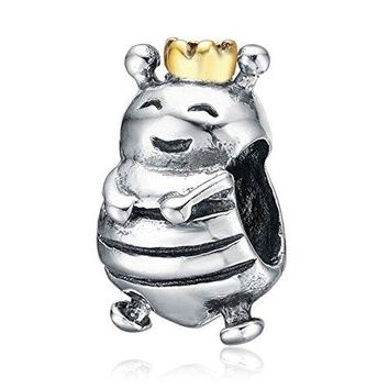 Ollia Jewelry Antique 925 Sterling Silver Beads Happy Queen Bee Charm with Gold Plated Crown Little Hardworking Animal Charms
