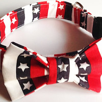 Patriotic 4th of July Collar with Matching Bow Tie for Male Dog or Cat
