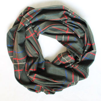 khaki plaid scarf,infinity scarf, scarf, scarves, long scarf, loop scarf, gift