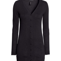 H&M - Knit Cardigan - Black - Ladies