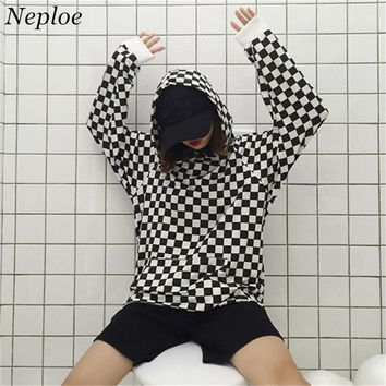 Neploe Black And White Plaid Hoodies Harajuku Long Sleeve Hooded Pullover Woman Man Casual Sweatshirts Coat 35863