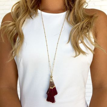 Burgundy Fringe & Bead Necklace