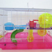 ymlgroup Pet Animal Play House H1812 Clear Plastic Dwarf Hamster And Mice Cage With Color Accessories Small Pink