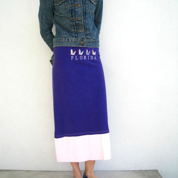 T Shirt Skirt / Orchid Purple Pink / Cover Up / Straight / Fitted / Long / Florida / Spring / Handmade / Cotton / Soft / ohzie