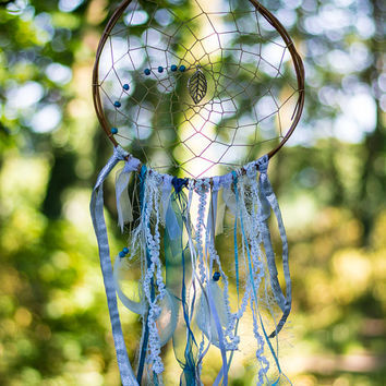 Boho Dreamcatcher  - Large Blue and White Bohemian Wall Hanging Dream Catcher Tribal Crib Nursery Baby Feathers Baby Boy Girl