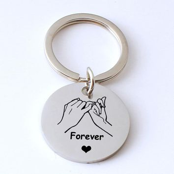 forever love keychain Hand to hand stainless steel key chain for lover's best friends  Men and Women Accessories porte clef