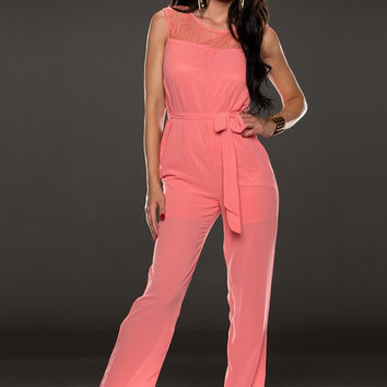 Pink Sleeveless Upper Lace Jumpsuit