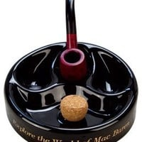 Mac Baren Ceramic 3 Pipe Black Cigar Ashtray with Cork Knocker