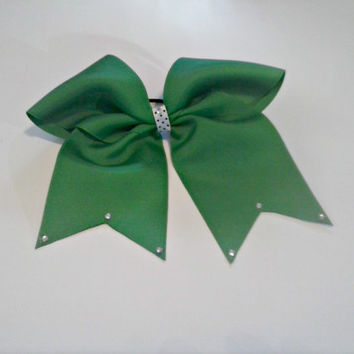 """Emerald Green 7"""" Cheer Bow with choice of clip, girls hair bow, green hair bow, cheer hair bow, pony o, alligator clip, girls hairbow"""