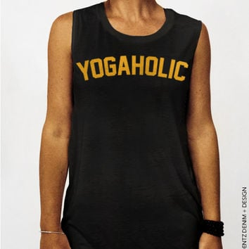 Yogaholic - Black with Gold Muscle Tee Tank T-shirt