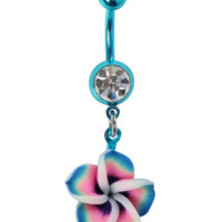 "14G 3/8"" Steel Teal Hawaiian Flower Navel Barbell"