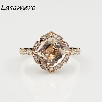 LASAMERO Cushion Cut 8x8mm 2.4CT Vintage Floral Halo Morganite Engagament Ring 10k Rose Gold Natural Gemstone Wedding Ring