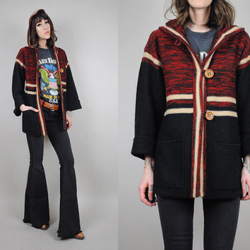 STRIPED vtg 70's hooded CARDIGAN Sweater Space Dyed bell sleeve Bohemian hippie jumper