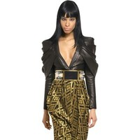 BALMAIN Gathered Leather Top
