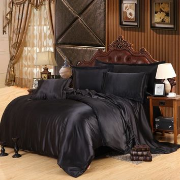Queen king size bedcover dark bedding set quilt silk bed set silk bedding