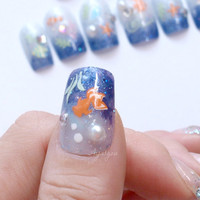 Nails, fish nail, blue nail, summer, Japanese nail, goldfish, glittery, Harajuku, yukata, kimono, kawaii nails, glue on, press on nail,