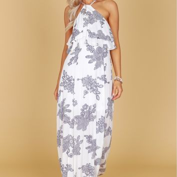 Ruffle Print Dress White
